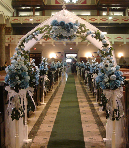 Wedding Church Decorations With Blue Flowers